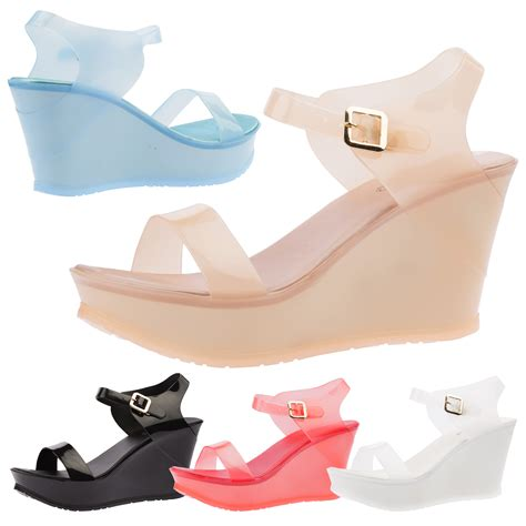 womens wedges jelly sandals smmer high heel