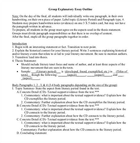 Writing An Explanatory Essay by Essay Outline Template 25 Free Sle Exle Format Free Premium Templates