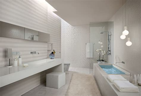 White Bathroom by White Stripe Bathroom Tiles Interior Design Ideas