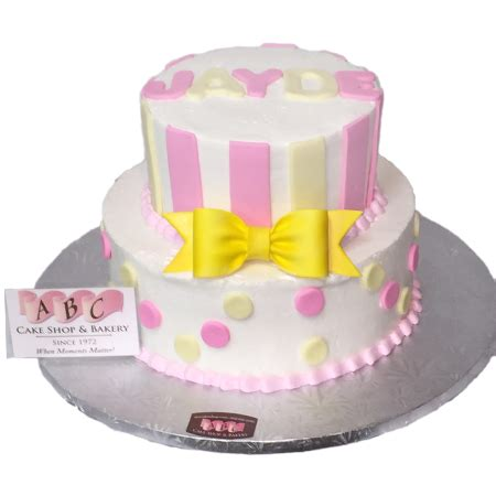 Pink And Yellow Baby Shower Cake by 1960 2 Tier Pink Yellow Baby Shower Cake Abc Cake