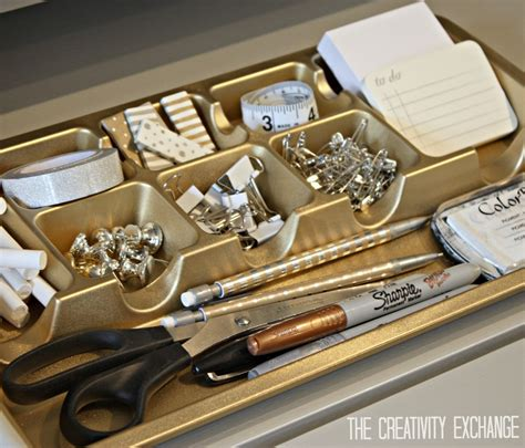 Spray Paint Drawer Organizers In Chic Metallics Paint It Cheap Desk Organizers