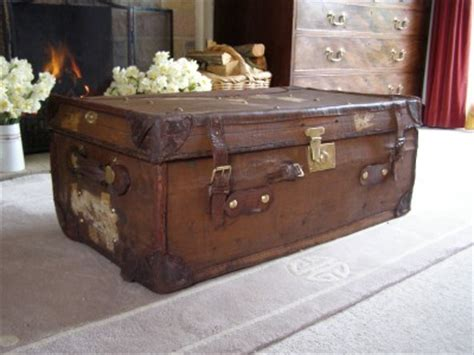 antique vintage leather steamer trunk coffee table blanket