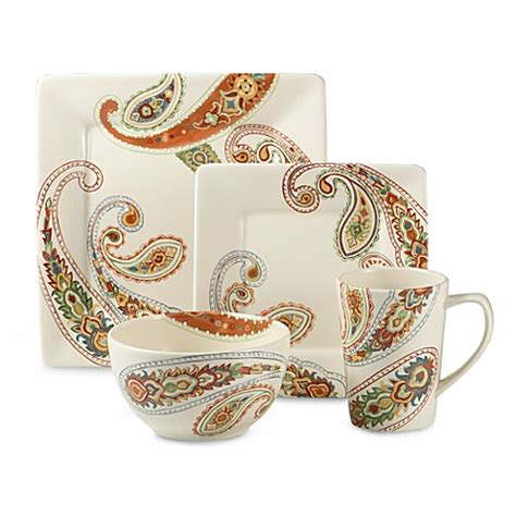 bed bath and beyond plates misto paisley dinnerware bed bath beyond