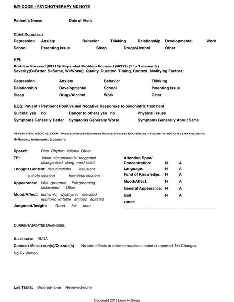 psychiatric progress note template 28 images sle