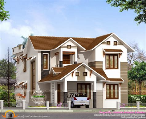 home plan designs 2015 sq ft sloping roof home kerala home design and
