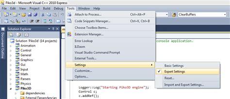 reset visual studio 2013 user settings advanced features in visual studio 2010 express 171 piko3d