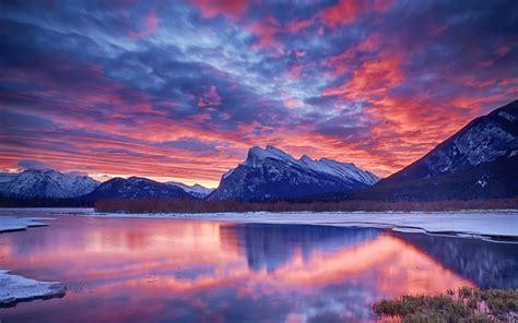 1440x900 kr best wallpaper net 겨울 눈 호수 하늘 구름 일몰 노을 산 배경 화면 1440x900 배경 화면 다운로드