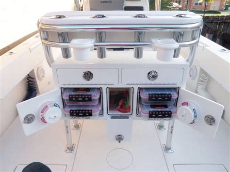 fishing boat organization ideas leaning post storage center console boat storage ideas