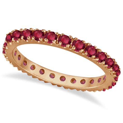 Ruby 7 65 Ct ruby eternity band stackable ring 14k gold 0 50ct