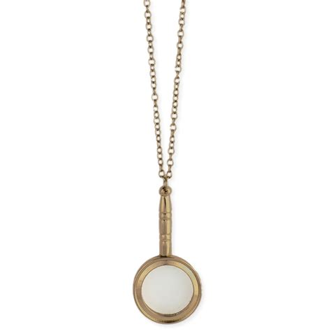 gold toned magnifying glass necklace ebay