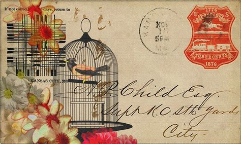free illustration vintage postcard collage design