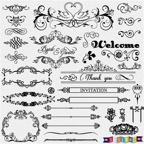Wedding Font Ornament by Instant Vintage Ornament Flower Calligraphy