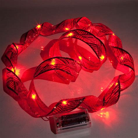 red christmas ribbon led lights