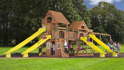 playground swing sets wooden swingsets playsets and swingset plans kits for
