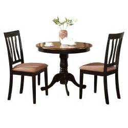 Round Black Dining Room Table by Black Round Kitchen Table Plus 2 Dining Room Chairs 3