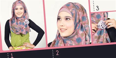tutorial berhijab pashmina shifon cara memakai jilbab pashmina chiffon bunga mempesona