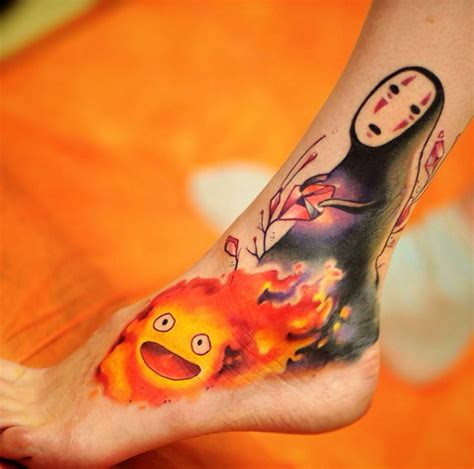 calcifer tattoo 20 studio ghibli tattoos inspired by miyazaki