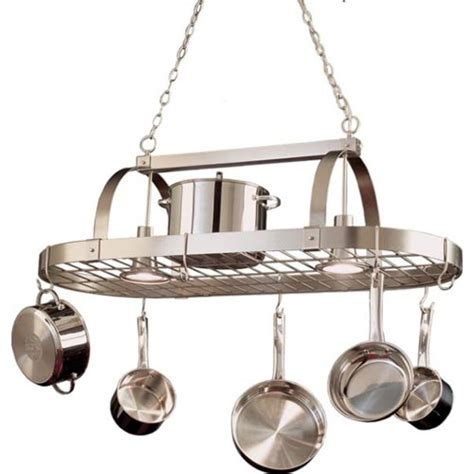 Kitchen Pot Hanging Rack With Lights Satin Nickel Pot Rack Kalco Lighting Lighted Pot Racks Pot Racks Kitchen