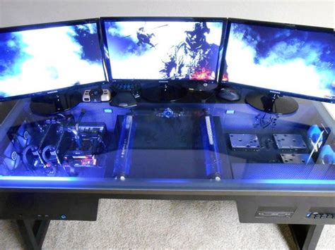 building a gaming desk three screens awesome idc about a living room lol i
