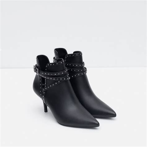 black high heel ankle boots zara high heel studded ankle boots in black lyst