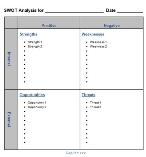 swot report template blank swot analysis template helloalive