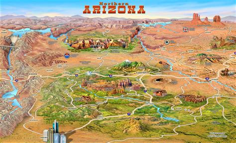 map of northern arizona large detailed tourist attractions panoramic map of