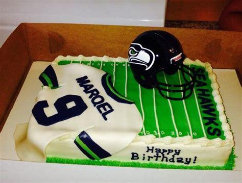 helmet design cake seahawks football field cake jersey is fondant helmet is