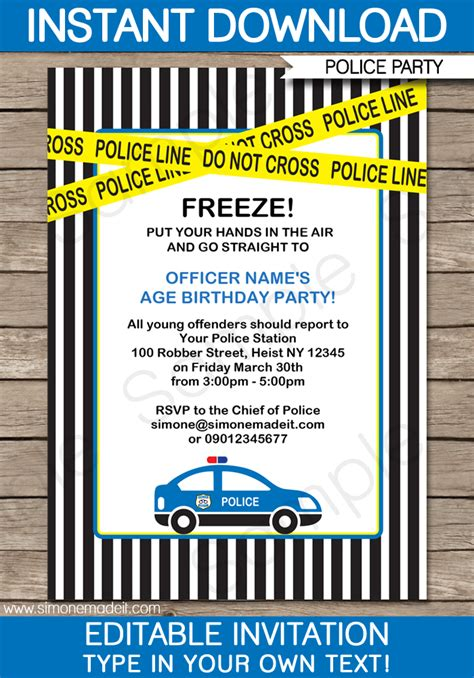 police birthday party invitations template police car