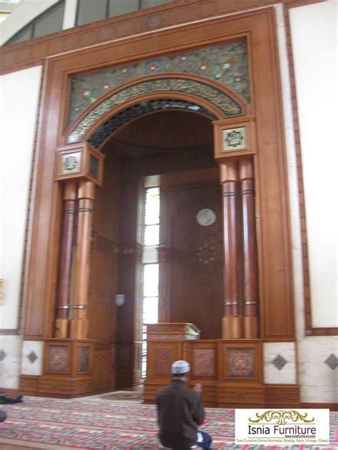 model mihrab masjid minimalis sederhana kayu jati