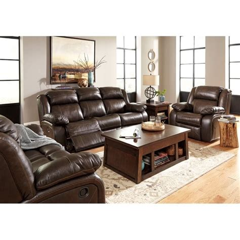 Ashley Branton 3 Piece Leather Power Reclining Sofa Set In Leather Power Reclining Sofa Set
