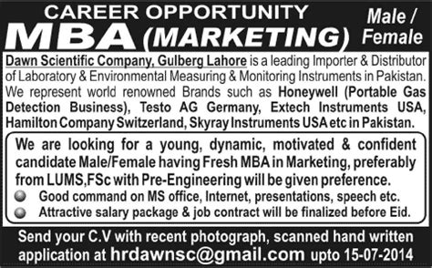 Mba In Lahore by Fresh Mba Marketing In Lahore 2014 July At
