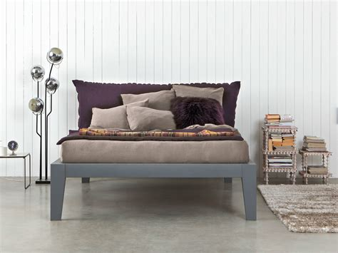 wooden bed with upholstered headboard soft by letti co