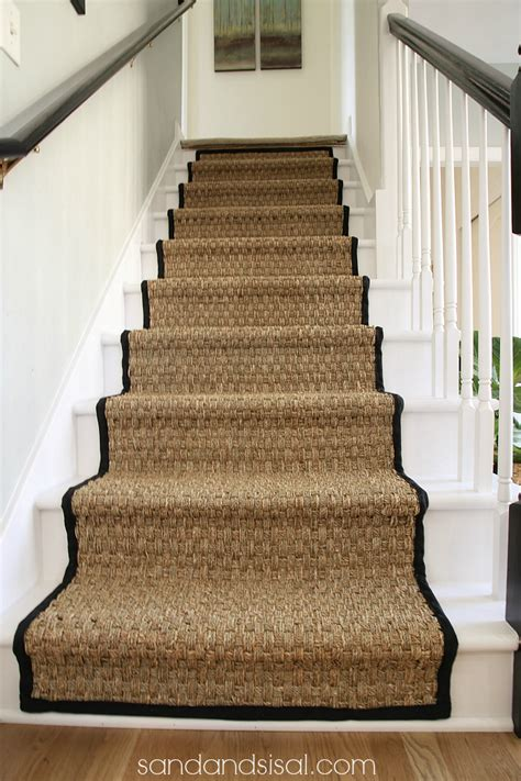 painted stairs painted staircase makeover with seagrass stair runner