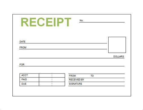 excel template receipt free receipt printable template for excel pdf formats