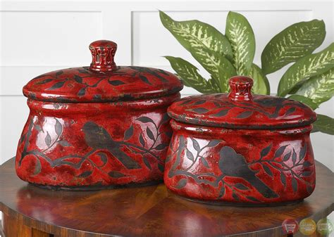 vintage set of 2 red canisters kitchen canisters old tin siana traditional red set of 2 ceramic canisters 19660