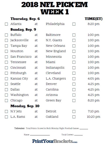printable nfl schedule for week 2 printable nfl week 1 schedule pick em pool 2018