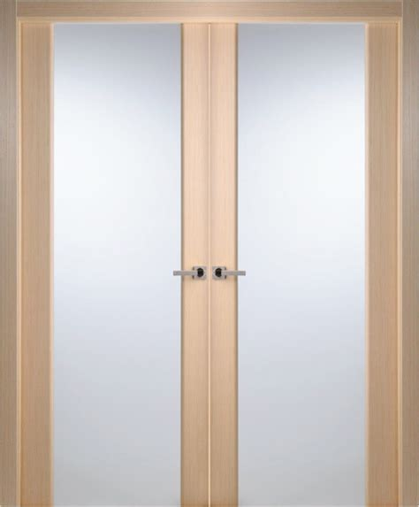 Contemporary Bleached Oak Veneer Interior Double Door Oak Veneer Interior Doors
