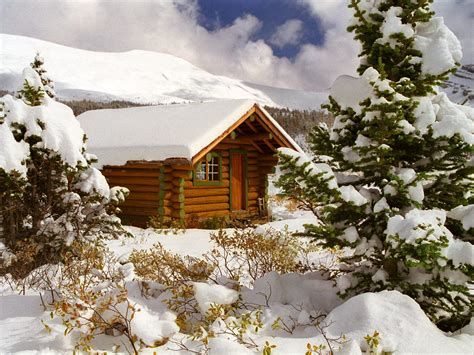 Log Cabin In The Snow by Cozy Log Cabin Mount Assiniboine Columbia Canada