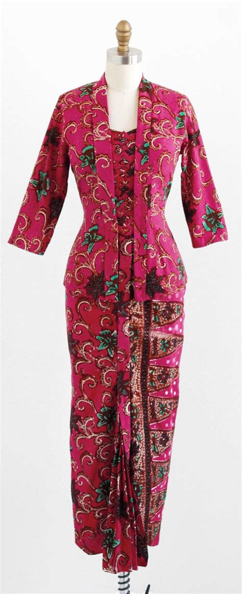 Maxi Denim Songket vintage 1940s dress set 40s jacket skirt raspberry and turquoise batik print jacket and