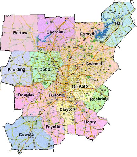 metro atlanta counties maps