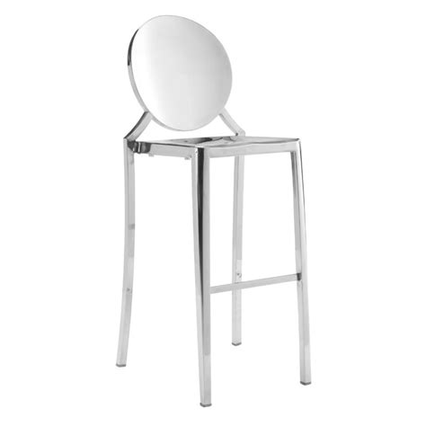 Stainless Steel Stools Kitchen by Zuo Eclispe 44 9 Quot Bar Stool In Stainless Steel Set Of 2