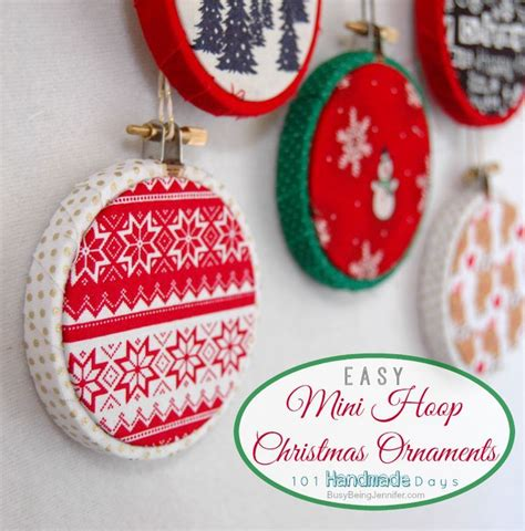 101 handmade days easy mini hoop ornaments christmas