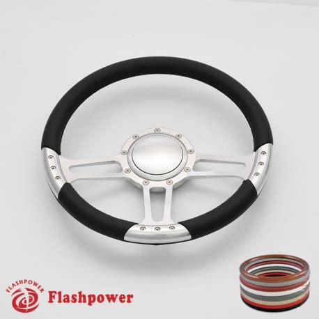 boat steering wheel with horn 14 satin billet steering wheels leather wrap custom