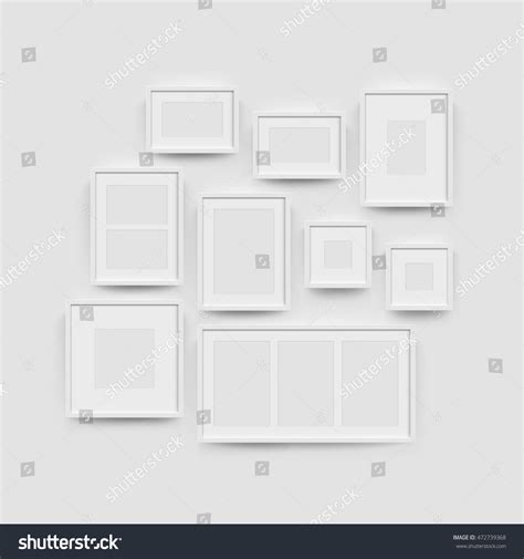 white blank photo frame wall gallery stock vector