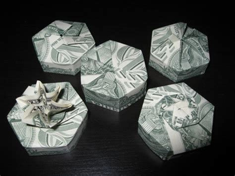 Origami Dollar Box - money origami hexagon box gifts