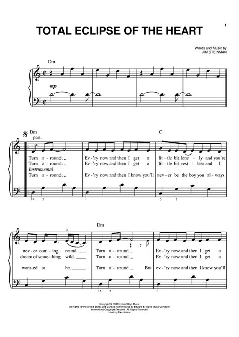 tutorial piano total eclipse of the heart total eclipse of the heart sheet music for piano and