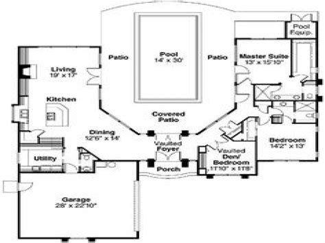 Courtyard Pool Home Plans | pool house plans with courtyard indoor swimming pools