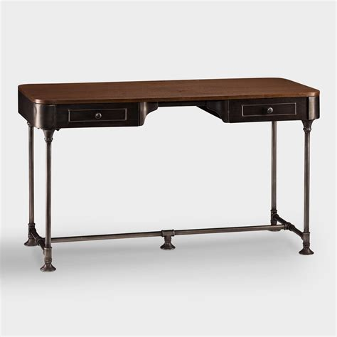 metal desk wood and metal industrial style desk world market