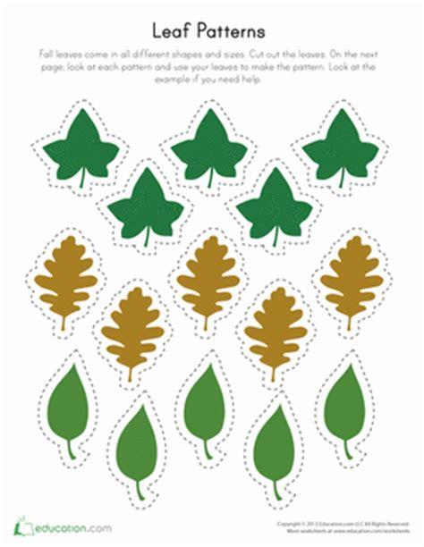 leaf pattern for kindergarten printable leaf patterns worksheet education com