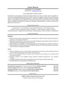 Customer Service Manager Resume Exles by Customer Service Manager Resume Sle Template